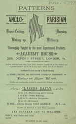 Advert For Acaddemy House, Dressmaking School